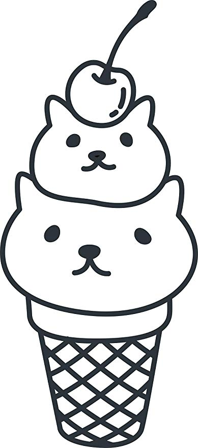 389x879 Cute Kawaii Kitty Cat Ice Cream Cone Cartoon Emoji