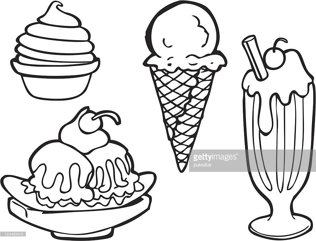 1024x781 Black And White Line Art Of Various Types Of Ice Cream Including