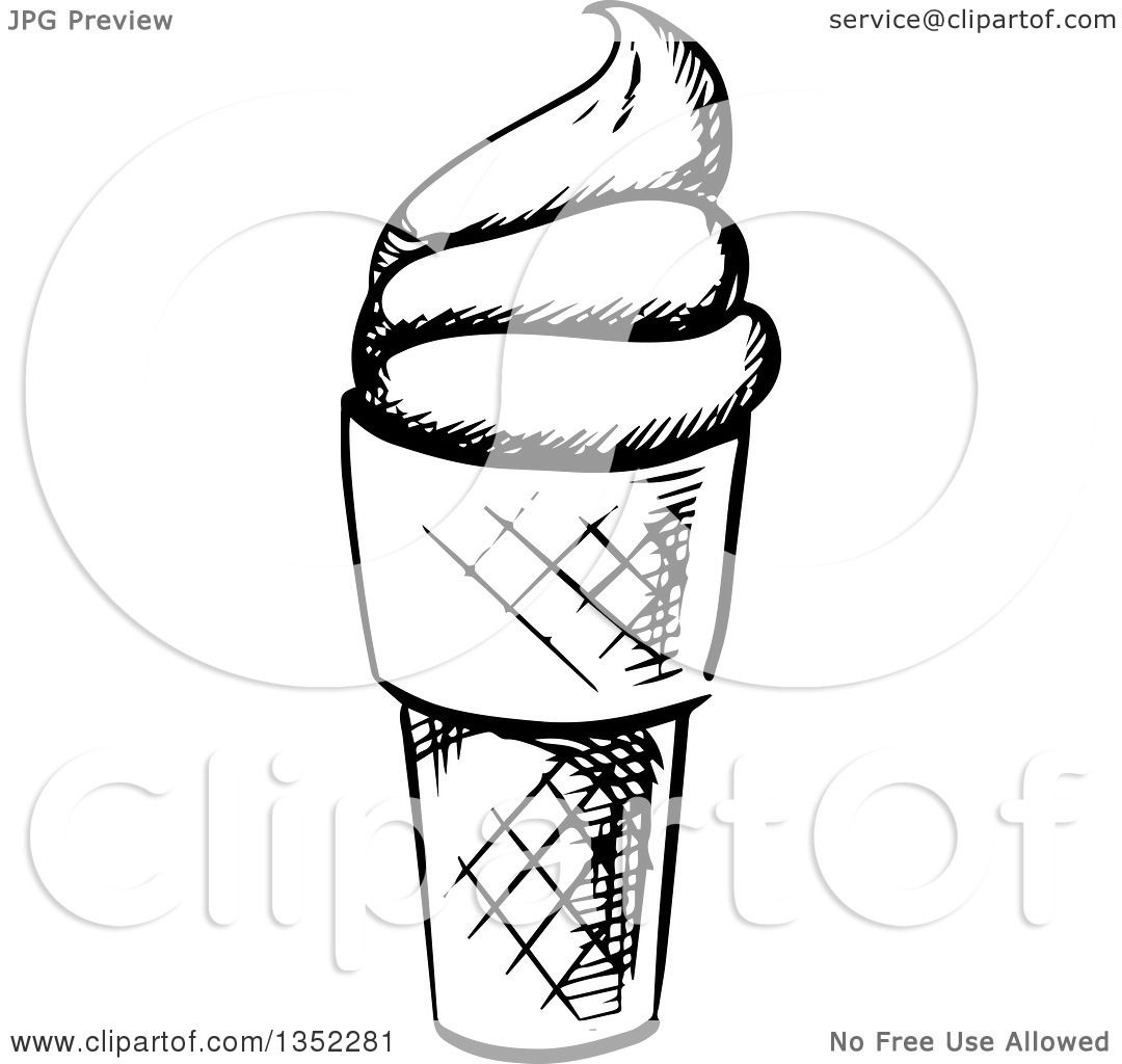 1080x1024 Clipart Of A Black And White Sketched Ice Cream Cone