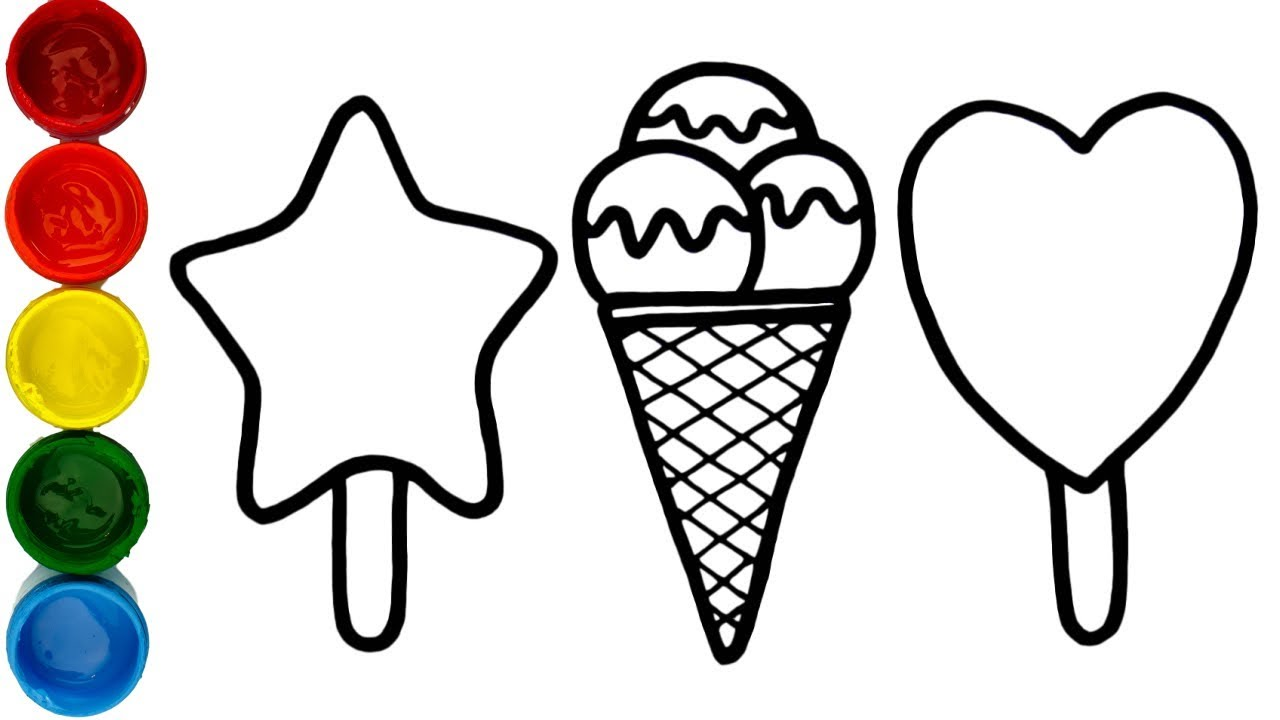 1280x720 Glitter Ice Cream Coloring And Drawing For Kids, Toddler Learn