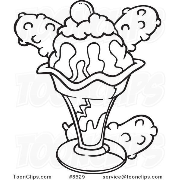 581x600 Cartoon Black And White Line Drawing Of An Ice Cream Sundae