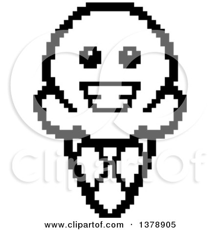 450x470 Clipart Of A Black And White Happy Waffle Ice Cream Cone Character