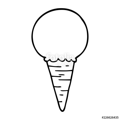 500x500 Line Drawing Cartoon Ice Cream Cone Stock Image And Royalty Free