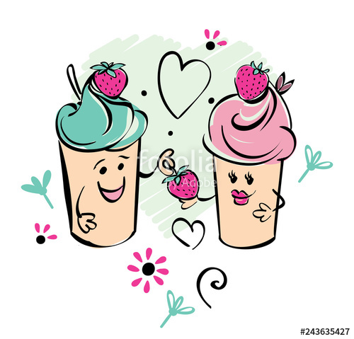 500x479 Girl And Boy Ice Cream Character And Strawberry, Heart The Boy