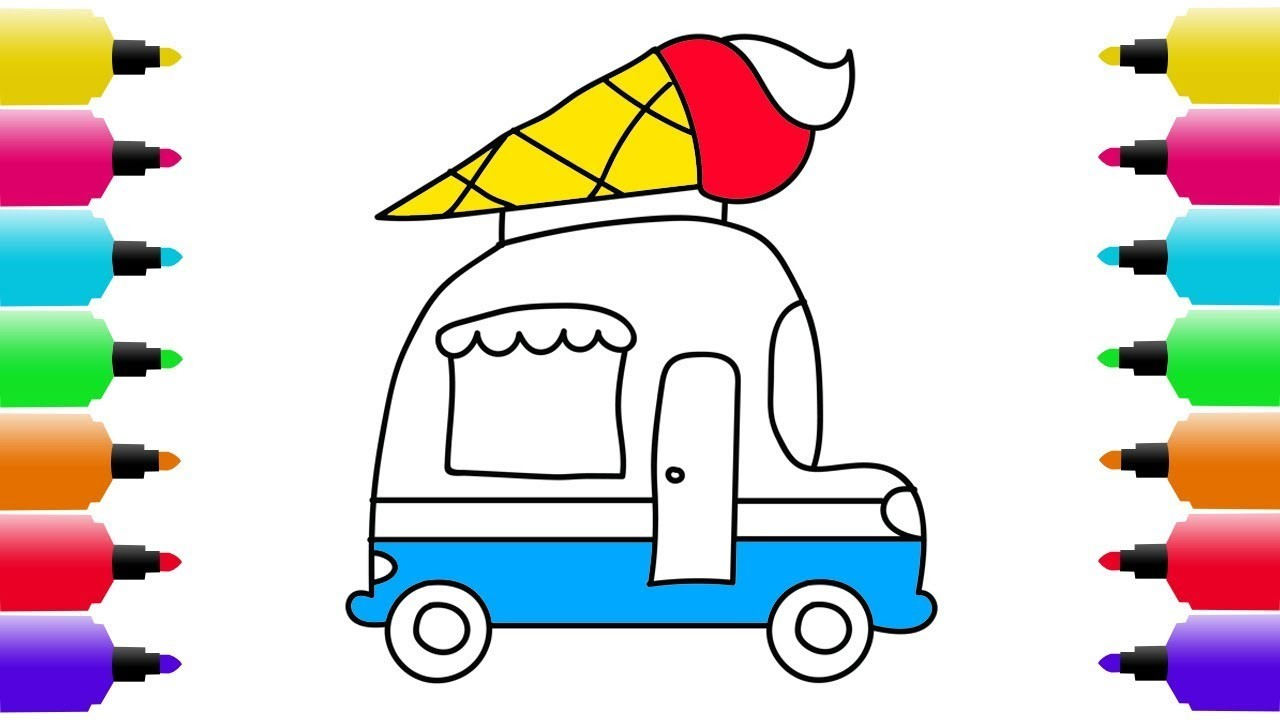 1280x720 How To Draw Ice Cream Truck Coloring Pages Ice Cream, Art Colors