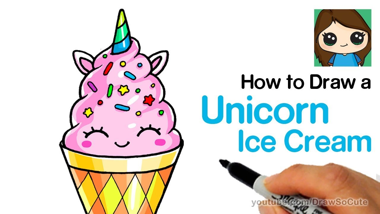 1280x720 How To Draw A Unicorn Ice Cream Easy And Cute Kids Youtube