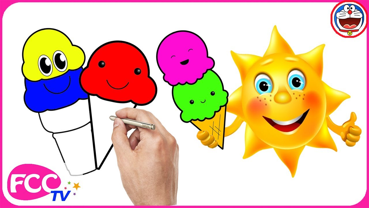 1280x720 Ice Cream Cone Drawing Coloring And Painting Kids Learing Colors