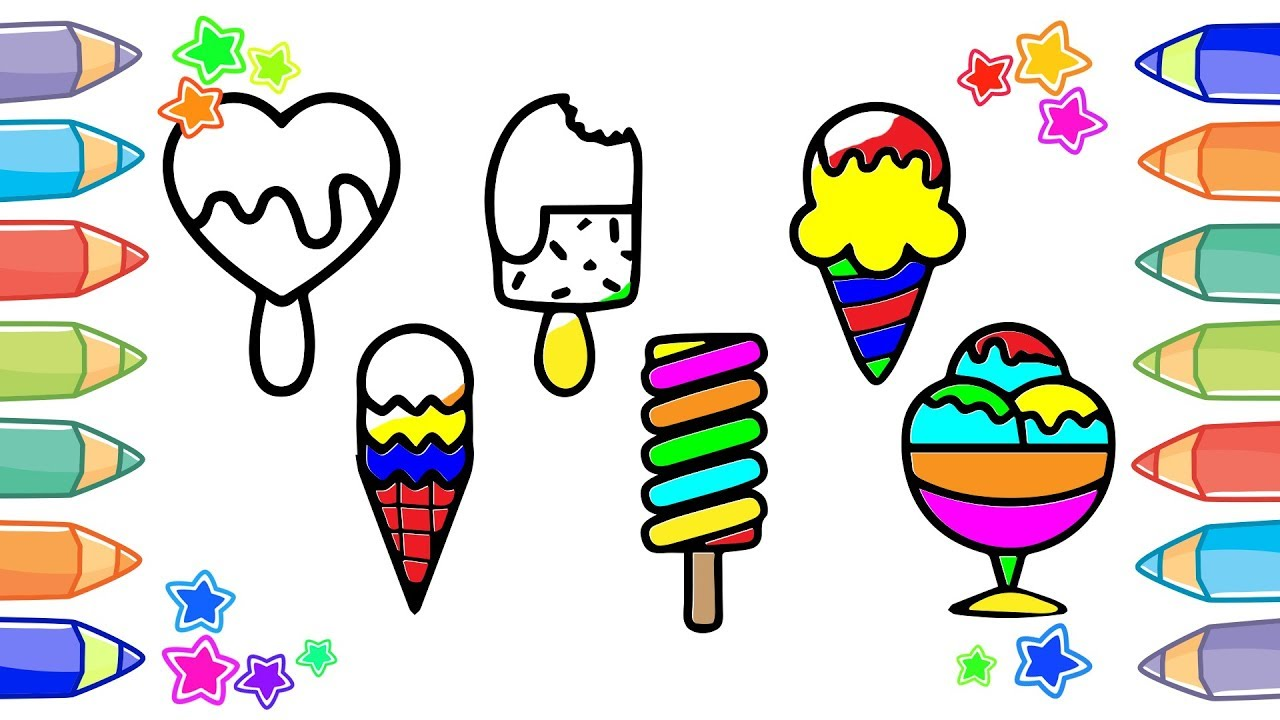 1280x720 Ice Cream Drawing And Coloring With Little Drop Learn Colors