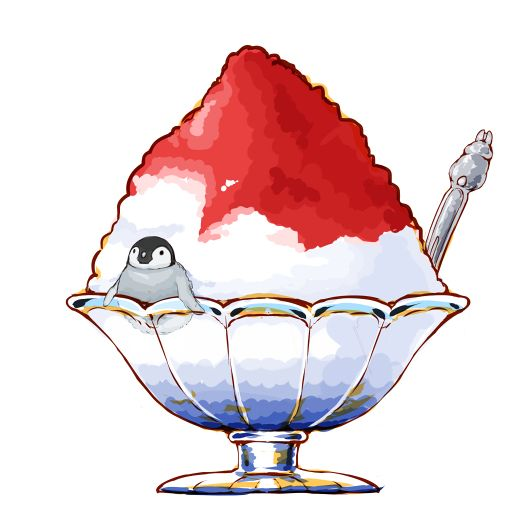 518x518 shaved ice penguin food illustrations food drawing, food