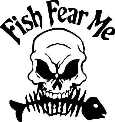 380x400 Fish Fear Me Vinyl Decal Sticker Ice Fishing Jig Bass Tackle Lure