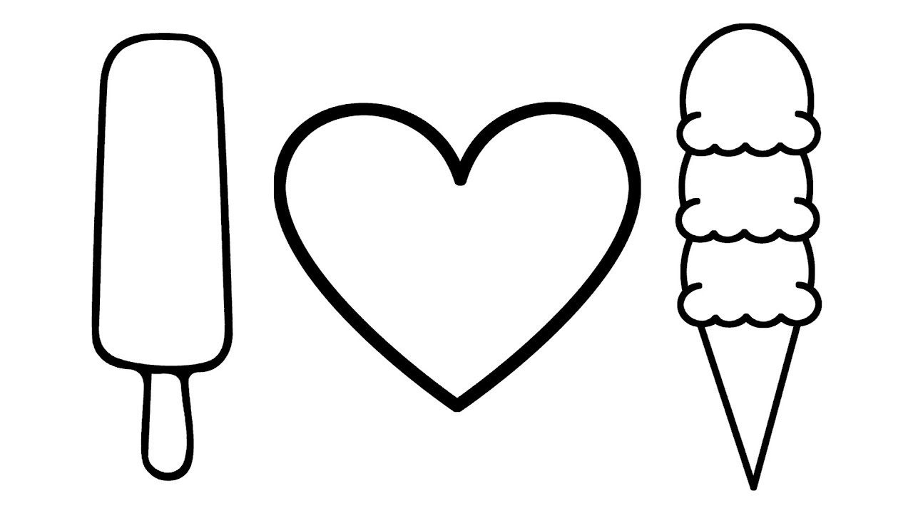 1280x720 Heart Drawing Ice Cream For Free Download