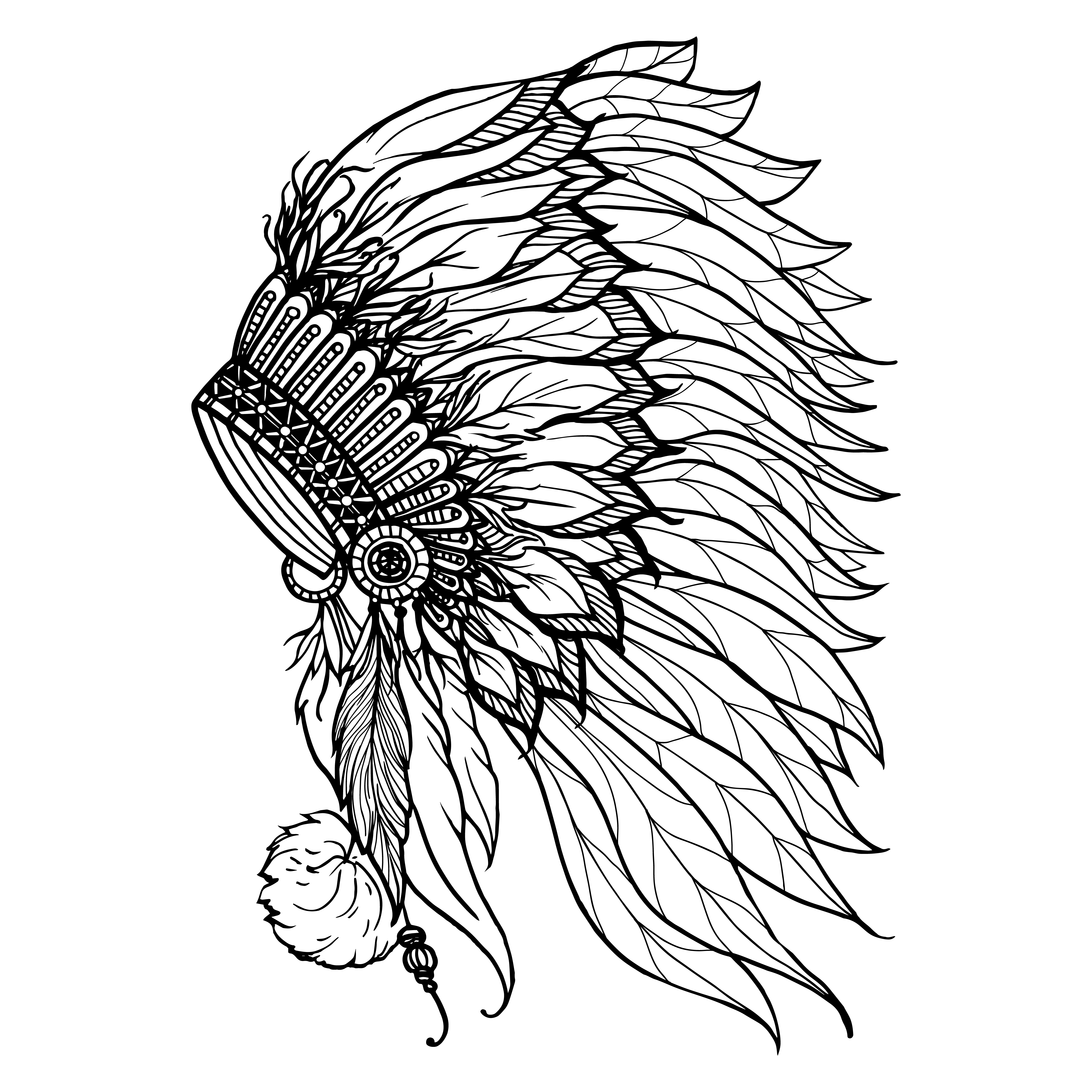 4500x4500 Doodle Headdress For Indian Chief