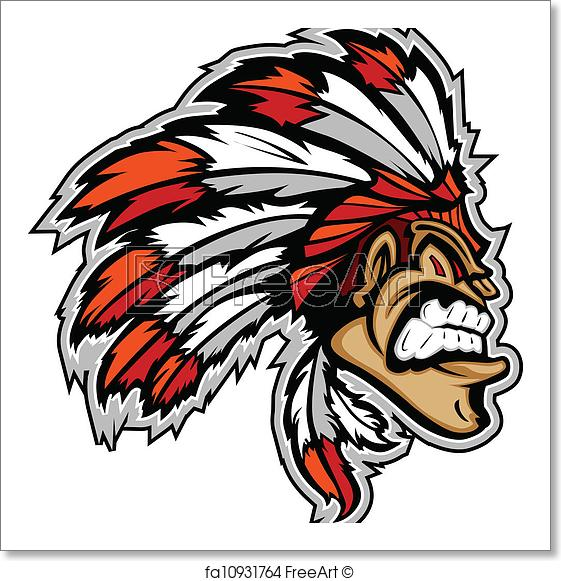 561x581 Free Art Print Of Indian Chief Mascot Head Vector Cartoon Cartoon