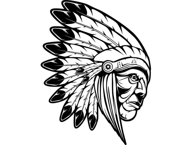 794x597 Indian Chief Mascot Native Traditional Tribal Football Warrior Etsy