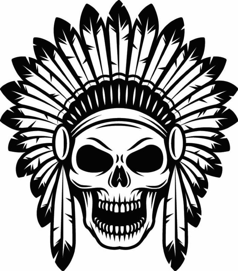 794x902 Indian Skull Native American Warrior Headdress Feather Etsy