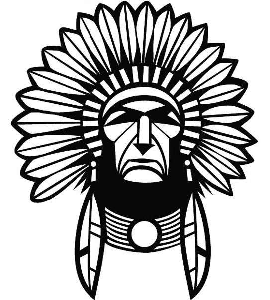 543x603 Red Indian Chief Car Decal Sticker