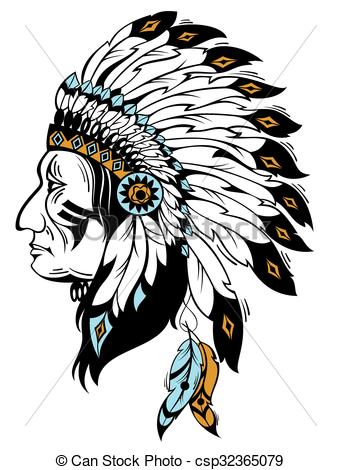 341x470 Vector Illustration With Indian Chief