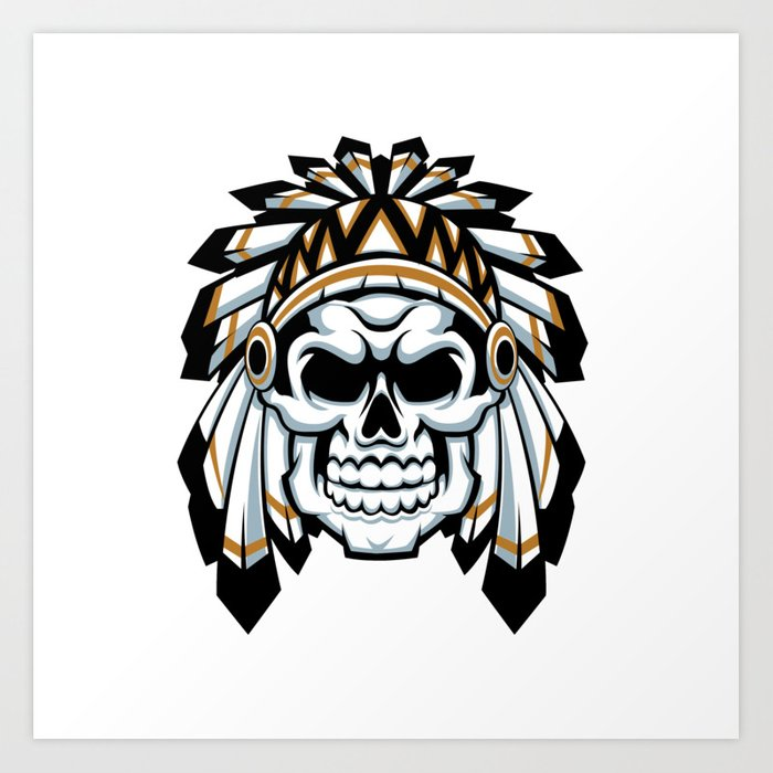 700x700 Skull Indian Chief With Feather Hat Art Print