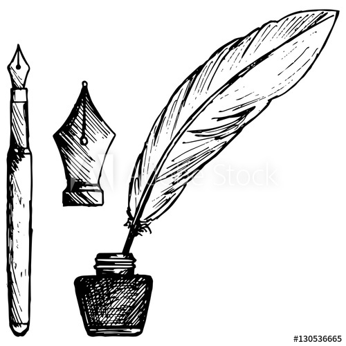 500x500 ancient pen, inkwell and old ink pen