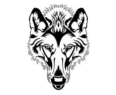 400x328 Cool Amazing Black Ink Wolf Face Stencil Tattoo Design
