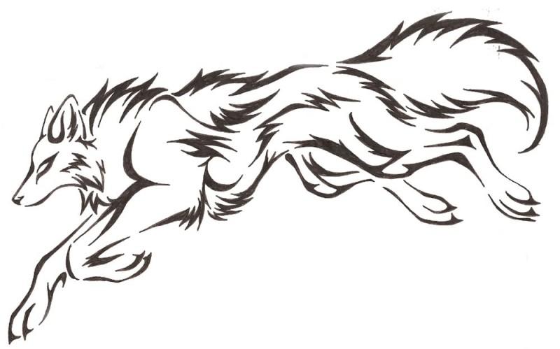 800x499 Jumping Tribal Black Ink Nice Wolf Tattoo Stencil Design