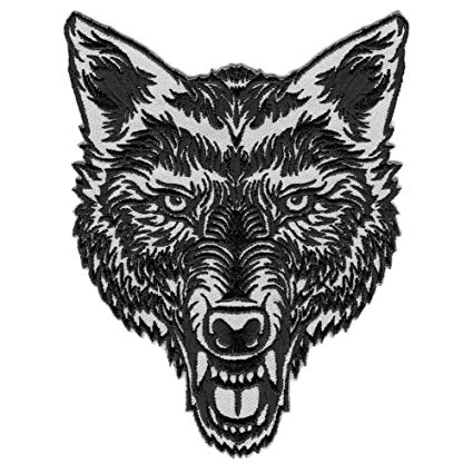425x425 Vegasbee Lone Wolf Head Tattoo Ink Style Embroidered