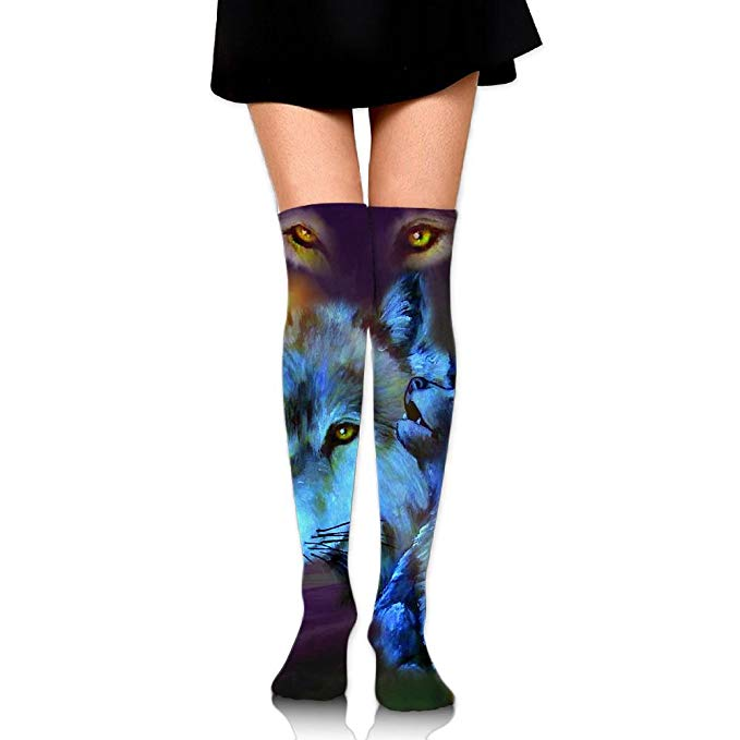 679x679 Women's Ink Drawing Dream Wolf Comfortable Knee High