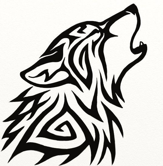 537x544 Black Ink Tribal Wolf Head Tattoo Design Tattoo Ideas Tribal