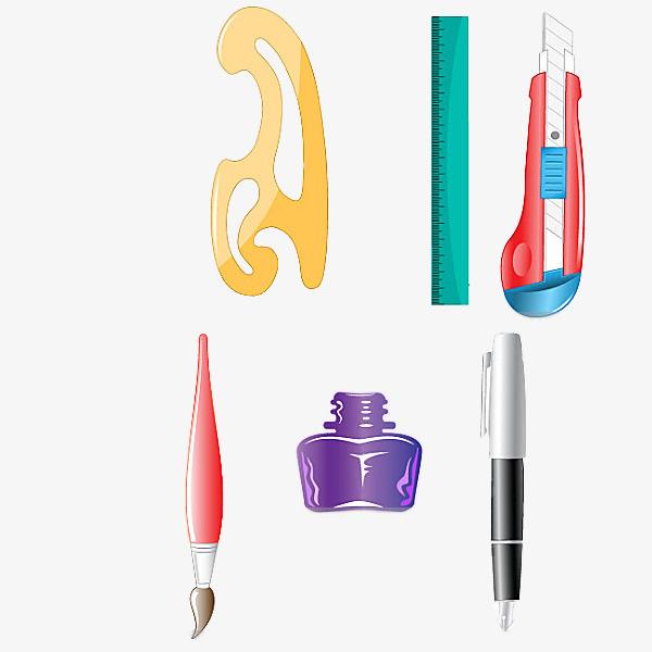 600x600 cartoon drawing tools, drawing tools, circle template, inkwell png