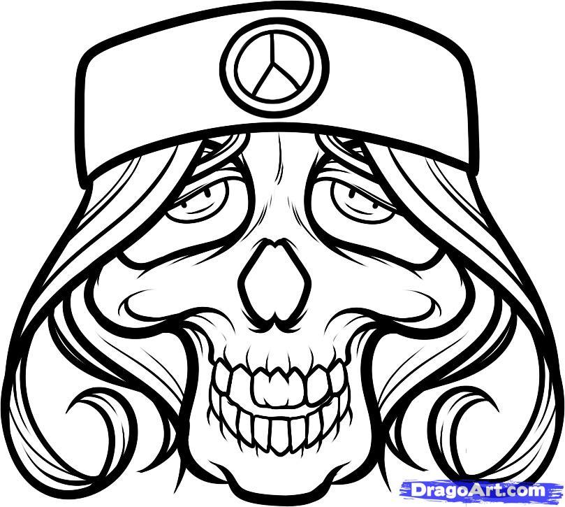 809x725 Innovative Hippie Skull Tattoo Art For Tattoo Fans