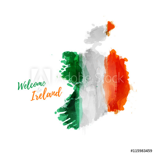 500x500 symbol, poster, banner ireland map of ireland with the decoration