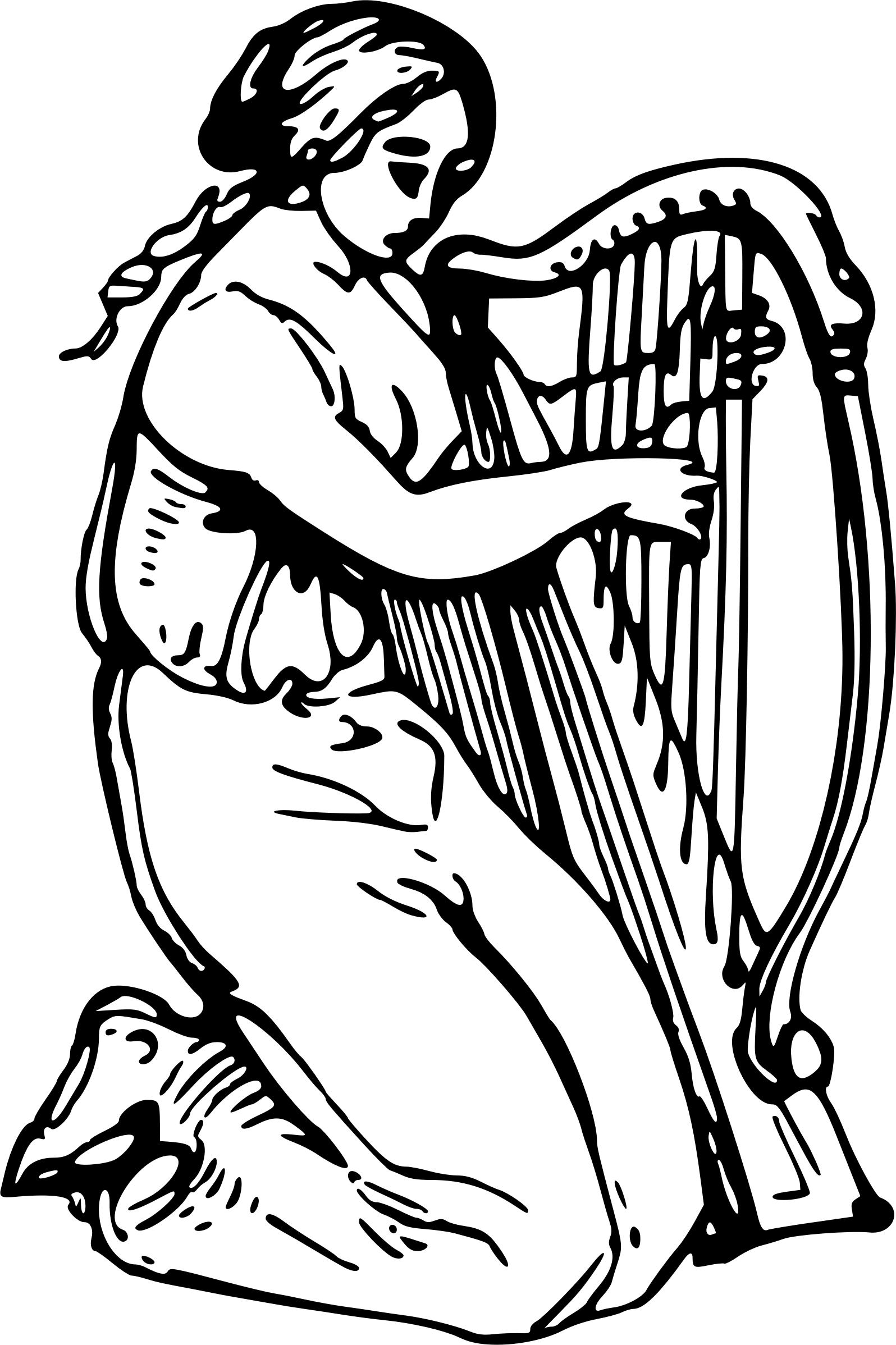 Irish Harp Drawing