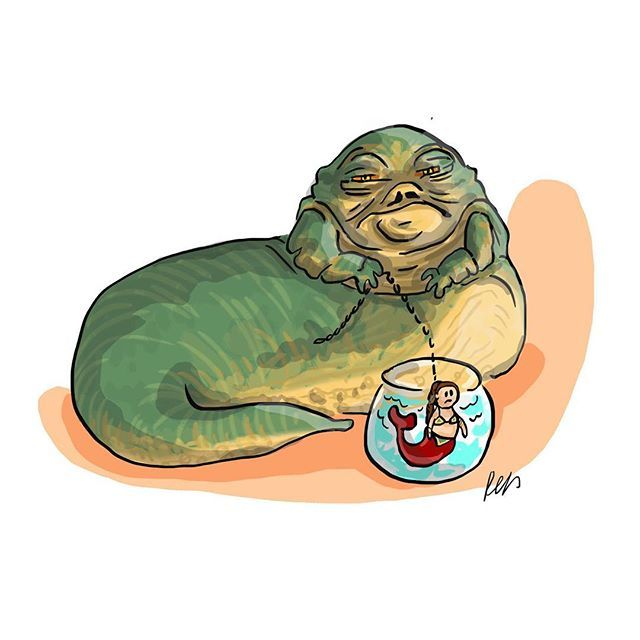 640x640 jabba the hutt with princess leia mermaid