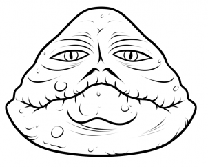 302x242 Drawing Printout How To Draw Jabba The Hutt Easy