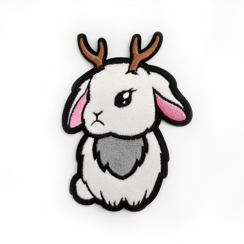 794x794 fuzzy jackalope patch sticker adhesive patch bunny applique etsy