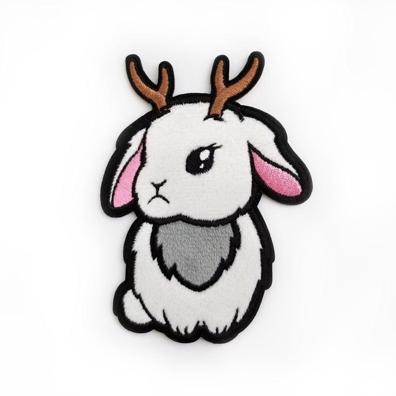 794x794 fuzzy jackalope patch sticker adhesive patch bunny applique etsy