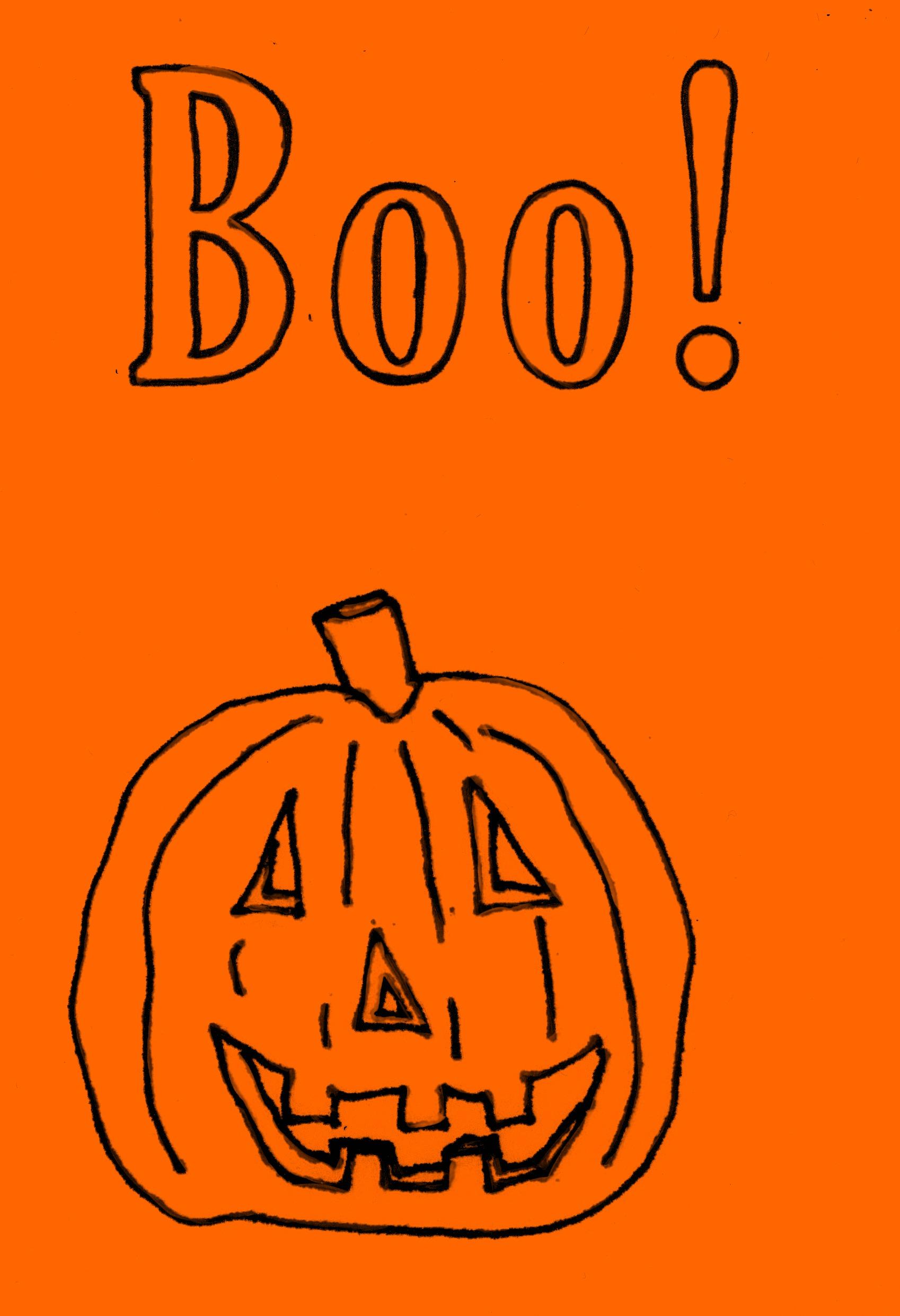 1698x2483 Boo! Jack O Lantern Line Drawing Handwritten Life