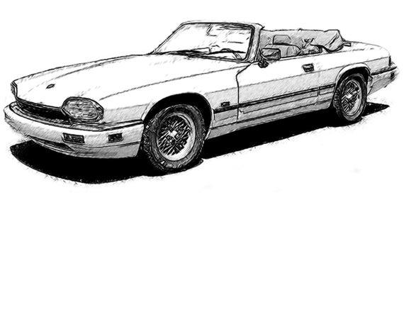 570x440 Jaguar Xk Drawing T Shirt Etsy
