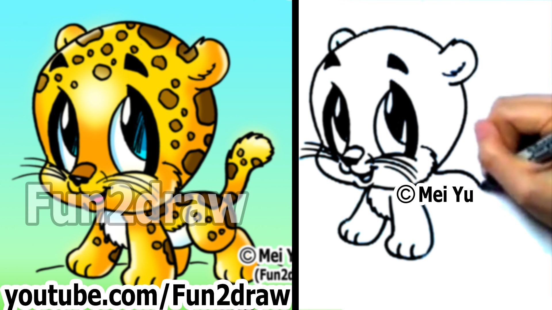 1920x1080 How To Draw Cartoon Characters How To Draw A Baby Jaguar Cute