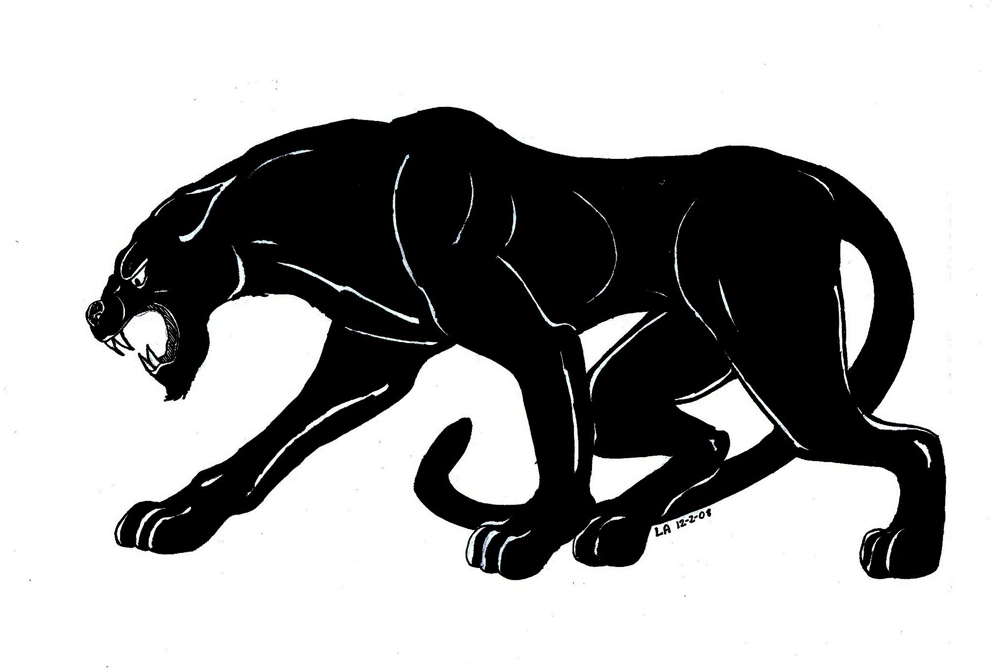 2041x1377 Jaguar Drawing Black For Free Download