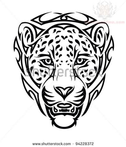 405x470 Jaguar Head Tribal Tattoo Design