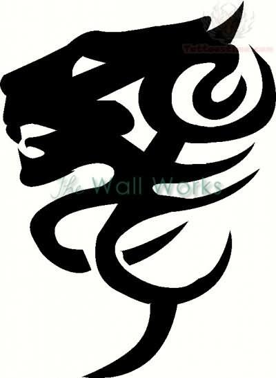 400x546 Tribal Jaguar Head Tattoo Design Picture