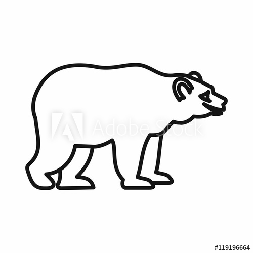 500x500 Bear Icon In Outline Style On A White Background