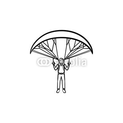 400x400 Skydiver Flying With Parachute Hand Drawn Outline Doodle Icon