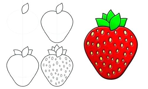 500x301 drawing of a strawberry how to draw a strawberry drawing