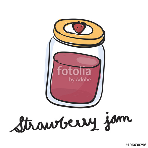 500x500 Illustration Drawing Style Of Strawberry Jam Stock Photo