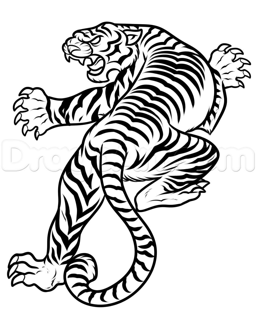 1075x1351 How To Draw A Japanese Tiger Tattoo, Step