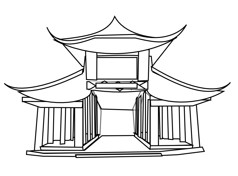 999x739 Pagoda Drawing Free Download On Unixtitan