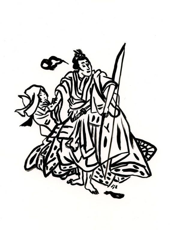 570x767 Original Drawing Ukiyo E Drawing Japanese Art Drawing