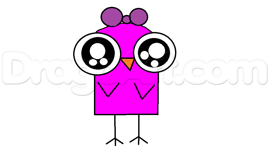 1022x556 How To Draw Pink Chilbi Bird Easy, Step